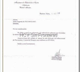 Respuesta del Ministerio de Salud de la Nación