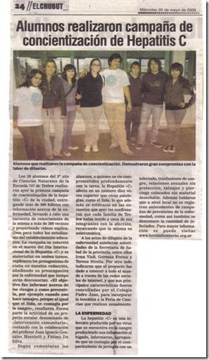 Alumnos de escuela de Trelew realizaron campaña por el Día Mundial de la Hepatitis 2009