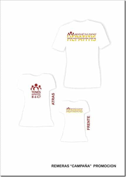 Remeras o camisetas Hepatitis – Si Tenés Dudas Hacete la Prueba – Campaña 2010