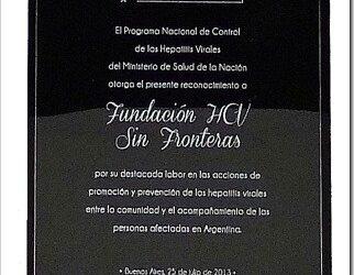 El Ministerio de Salud de la Nación reconoció oficialmente el trabajo y la trayectoria de la Fundación HCV Sin fronteras